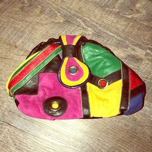 Vintage Colorblock Pink Yellow Green Blue Purse